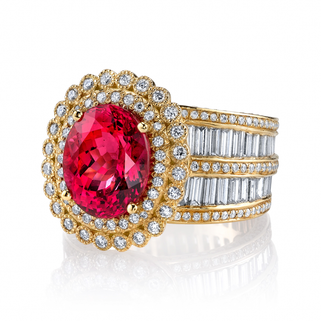 Diana ring in 18k yellow gold with a 5.78 ct. Mahenge spinel and 5.35 cts. t.w. diamonds, $187,000; Erica Courtney, email jilienne@ericacourtney.com for purchase
