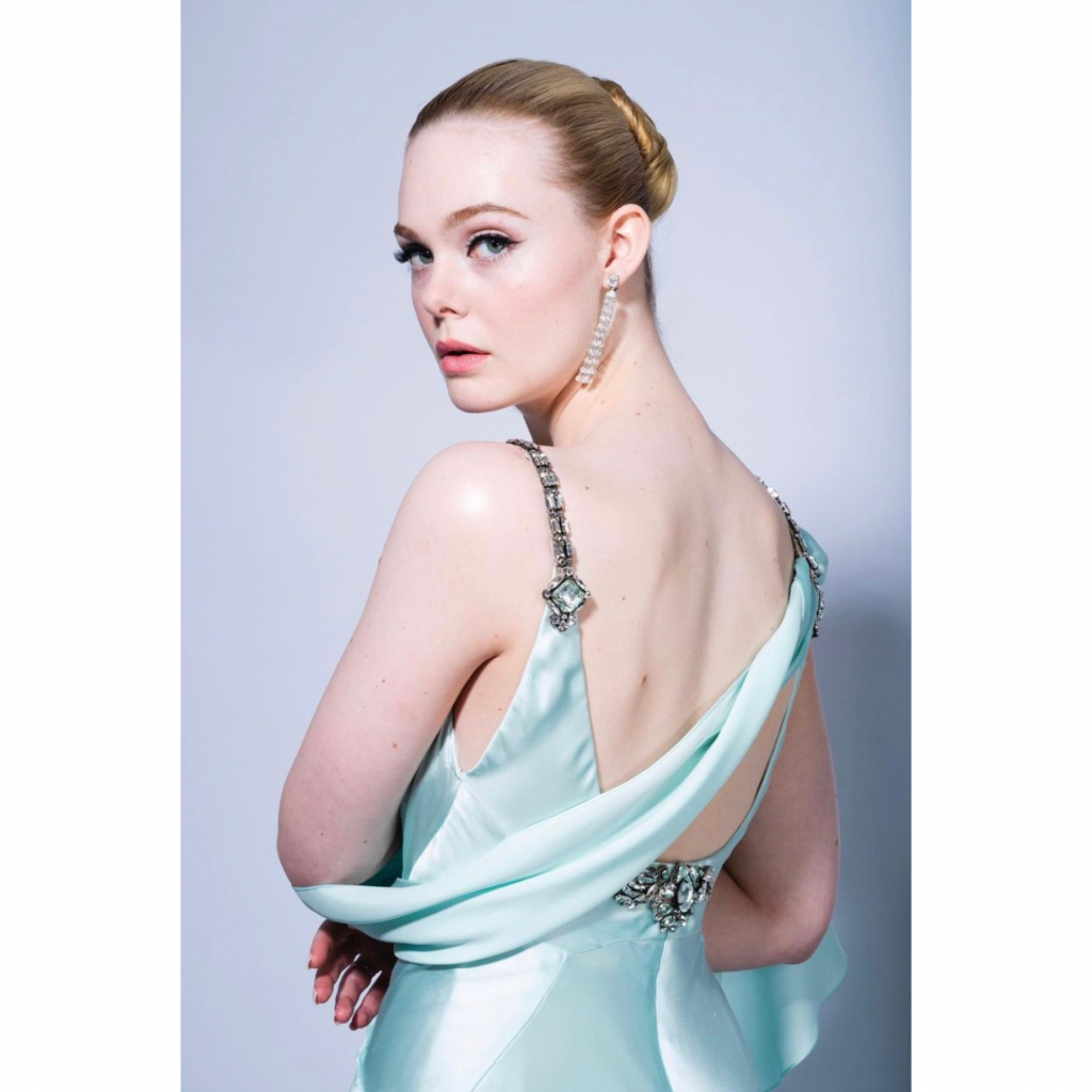"""Elle Fanning in Fred Leighton. Fanning was a nominee for Best Television Actress – Musical/Comedy, for her role in """"The Great."""" Source: @ellefanning"""