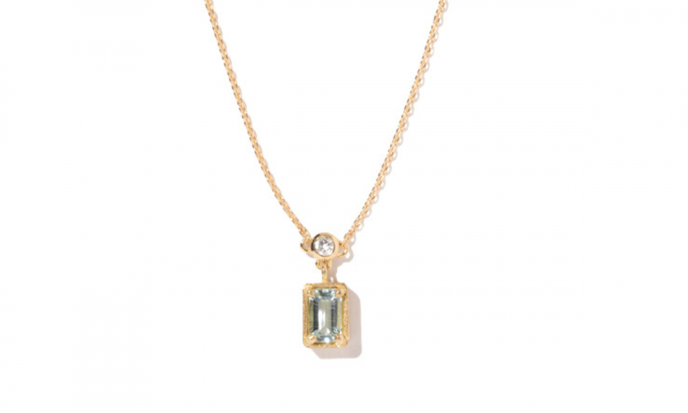 Necklace in 18k gold with 0.24 ct. t.w. aquamarine and 0.06 ct. t.w. diamond, $1,850; available for purchase online at Milamore