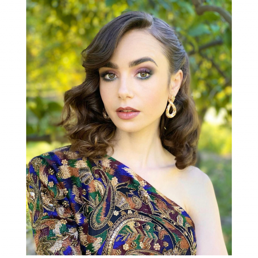 """Lily Collins in Cartier. Collins was a nominee for Best Television Actress – Musical/Comedy, for her role in """"Emily in Paris."""" Source: @lilyjcollins"""
