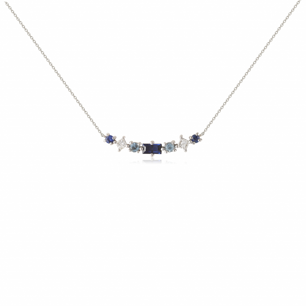 Multi-stone necklace in 18k white, yellow or rose gold with 0.17 ct. t.w. baguette- and round-shape faceted sapphires, 0.10 ct. t.w. round brilliant-cut colorless diamonds, and 0.07 ct. t.w. round faceted aquamarines, €920; available online at Alexia Gryllaki