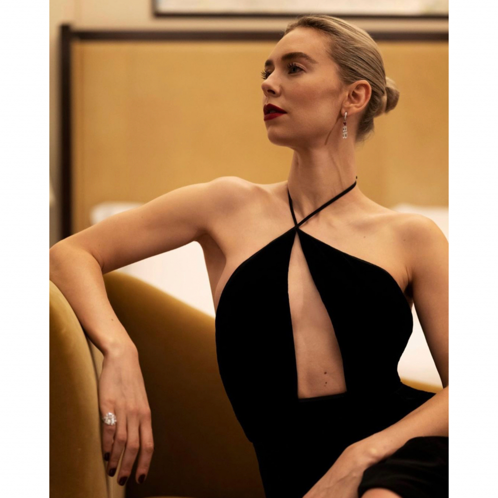 """Vanessa Kirby in Cartier. Kirby was a nominee for Best Actress – Motion Picture Drama, for her role in """"Pieces of a Woman."""" @vanessa__kirby"""
