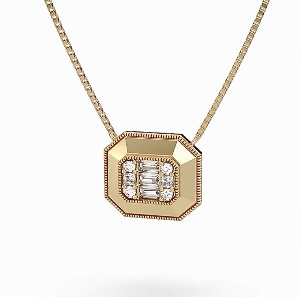 Gatsby pendant necklace in 14k yellow gold with 0.36 ct. t.w. diamonds, $759; Clarté, email manvi25@icloud.com for purchase
